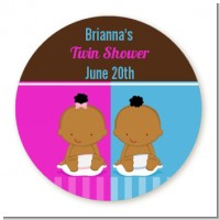 Twin Babies 1 Boy and 1 Girl African American - Round Personalized Baby Shower Sticker Labels