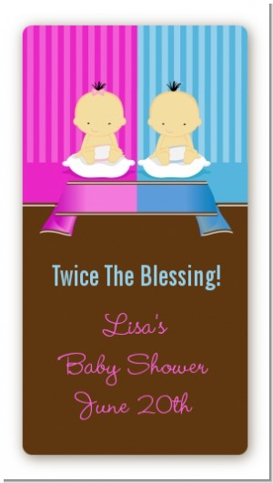 Twin Babies 1 Boy and 1 Girl Asian - Custom Rectangle Baby Shower Sticker/Labels