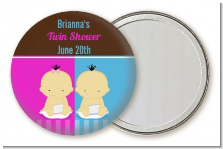Twin Babies 1 Boy and 1 Girl Asian - Personalized Baby Shower Pocket Mirror Favors
