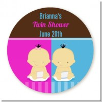Twin Babies 1 Boy and 1 Girl Asian - Round Personalized Baby Shower Sticker Labels