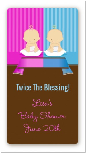 Twin Babies 1 Boy and 1 Girl Caucasian - Custom Rectangle Baby Shower Sticker/Labels