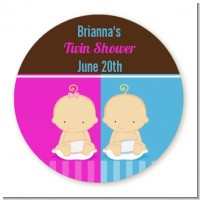 Twin Babies 1 Boy and 1 Girl Caucasian - Round Personalized Baby Shower Sticker Labels