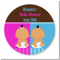 Twin Babies 1 Boy and 1 Girl Hispanic - Round Personalized Baby Shower Sticker Labels