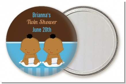 Twin Baby Boys African American - Personalized Baby Shower Pocket Mirror Favors