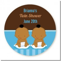Twin Baby Boys African American - Round Personalized Baby Shower Sticker Labels