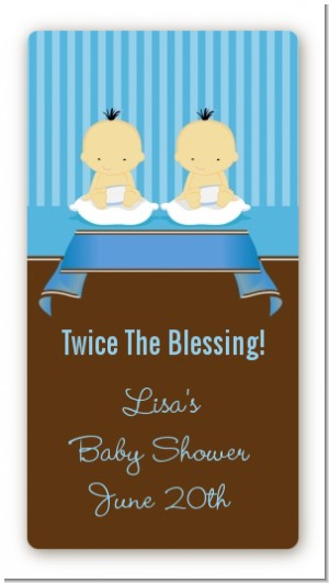 Twin Baby Boys Asian - Custom Rectangle Baby Shower Sticker/Labels
