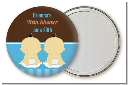 Twin Baby Boys Asian - Personalized Baby Shower Pocket Mirror Favors