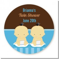 Twin Baby Boys Asian - Round Personalized Baby Shower Sticker Labels