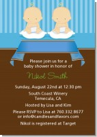 Twin Baby Boys Caucasian - Baby Shower Invitations