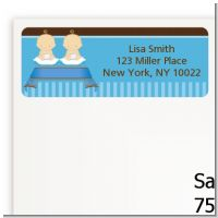 Twin Baby Boys Caucasian - Baby Shower Return Address Labels