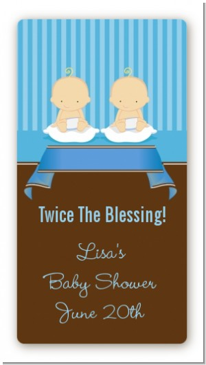 Twin Baby Boys Caucasian - Custom Rectangle Baby Shower Sticker/Labels