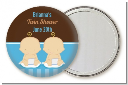 Twin Baby Boys Caucasian - Personalized Baby Shower Pocket Mirror Favors