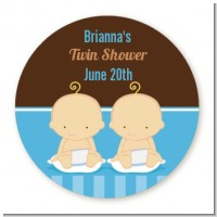 Twin Baby Boys Caucasian - Round Personalized Baby Shower Sticker Labels