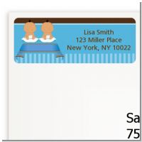 Twin Baby Boys Hispanic - Baby Shower Return Address Labels