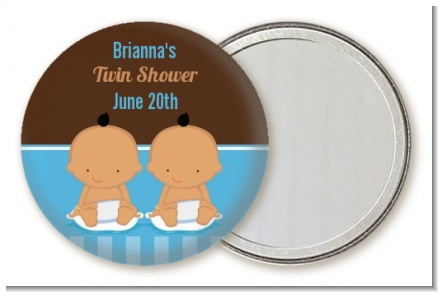 Twin Baby Boys Hispanic - Personalized Baby Shower Pocket Mirror Favors