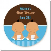 Twin Baby Boys Hispanic - Round Personalized Baby Shower Sticker Labels