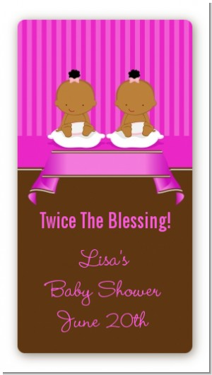 Twin Baby Girls African American - Custom Rectangle Baby Shower Sticker/Labels