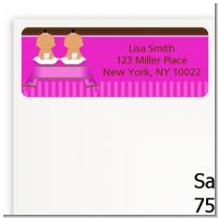 Twin Baby Girls Hispanic - Baby Shower Return Address Labels
