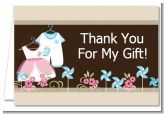 Twin Little Outfits 1 Boy and 1 Girl - Baby Shower Thank You Cards