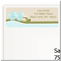Twin Elephant Boys - Baby Shower Return Address Labels