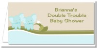 Twin Elephant Boys - Personalized Baby Shower Place Cards