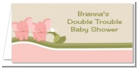 Twin Elephant Girls - Personalized Baby Shower Place Cards