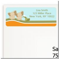 Twin Elephants - Baby Shower Return Address Labels