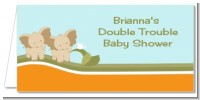 Twin Elephants - Personalized Baby Shower Place Cards