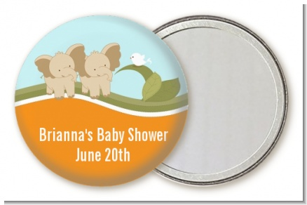 Twin Elephants - Personalized Baby Shower Pocket Mirror Favors
