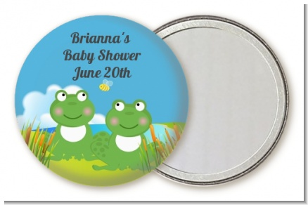 Twin Frogs - Personalized Baby Shower Pocket Mirror Favors