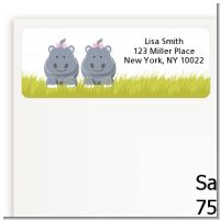 Twin Hippo Girls - Baby Shower Return Address Labels