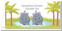 Twin Hippo Girls - Personalized Baby Shower Place Cards
