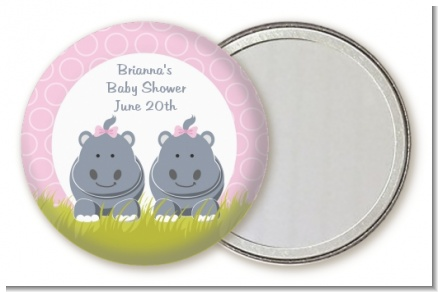 Twin Hippo Girls - Personalized Baby Shower Pocket Mirror Favors