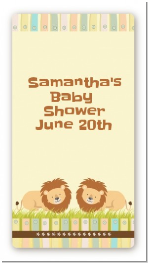 Twin Lions - Custom Rectangle Baby Shower Sticker/Labels