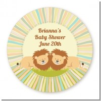 Twin Lions - Round Personalized Baby Shower Sticker Labels