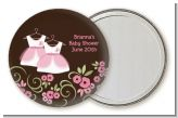 Twin Little Girl Outfits - Personalized Baby Shower Pocket Mirror Favors