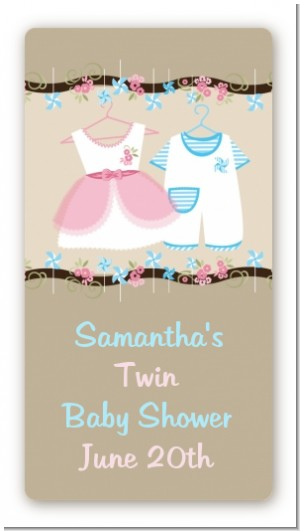 Twin Little Outfits 1 Boy and 1 Girl - Custom Rectangle Baby Shower Sticker/Labels