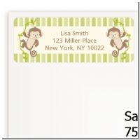 Twin Monkey - Baby Shower Return Address Labels