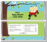 Twins Little Red Wagon Asian Boys - Personalized Baby Shower Candy Bar Wrappers