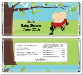 Twins Little Red Wagon Caucasian Girls - Personalized Baby Shower Candy Bar Wrappers