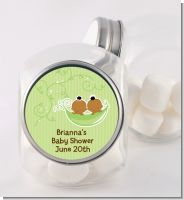Twins Two Peas in a Pod African American - Personalized Baby Shower Candy Jar