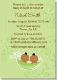 Twins Two Peas in a Pod African American - Baby Shower Invitations