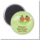 Twins Two Peas in a Pod African American - Personalized Baby Shower Magnet Favors
