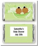 Twins Two Peas in a Pod African American Two Boys - Personalized Baby Shower Mini Candy Bar Wrappers