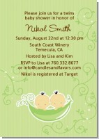 Twins Two Peas in a Pod Asian - Baby Shower Invitations