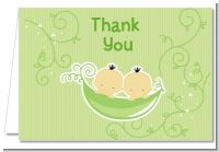Twins Two Peas in a Pod Asian - Baby Shower Thank You Cards