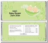 Twins Two Peas in a Pod Caucasian - Personalized Baby Shower Candy Bar Wrappers