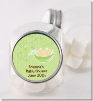 Twins Two Peas in a Pod Caucasian - Personalized Baby Shower Candy Jar