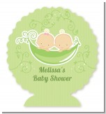 Twins Two Peas in a Pod Caucasian - Personalized Baby Shower Centerpiece Stand
