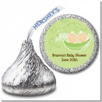 Twins Two Peas in a Pod Caucasian - Hershey Kiss Baby Shower Sticker Labels